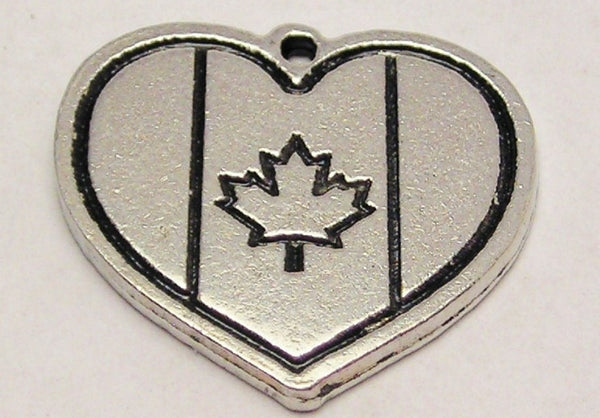 Heart Shaped Canada Flag Genuine American Pewter Charm