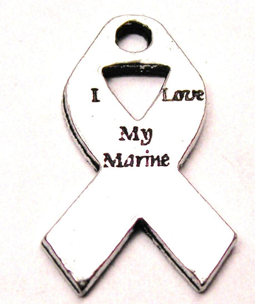 I Love My Marine Awareness Ribbon Genuine American Pewter Charm