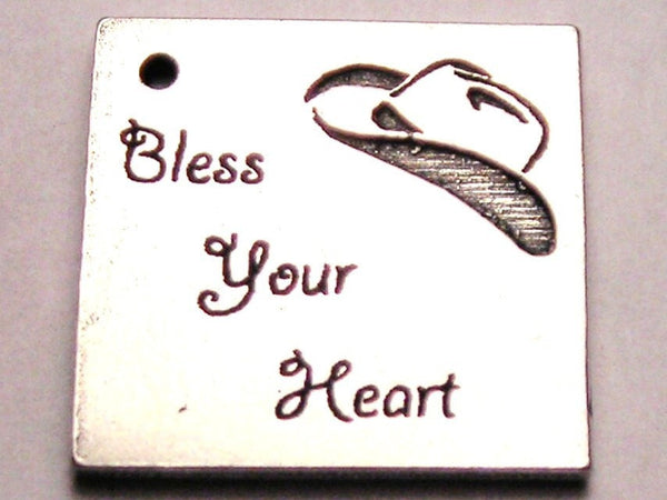 Bless Your Heart With Cowboy Hat Genuine American Pewter Charm