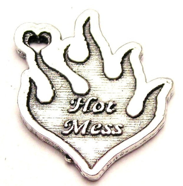 Hot Mess Flames Genuine American Pewter Charm