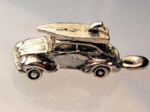 VW Bug With Surfboard On Top Genuine American Pewter Charm