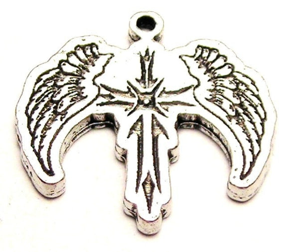 Cross With Wings Genuine American Pewter Charm