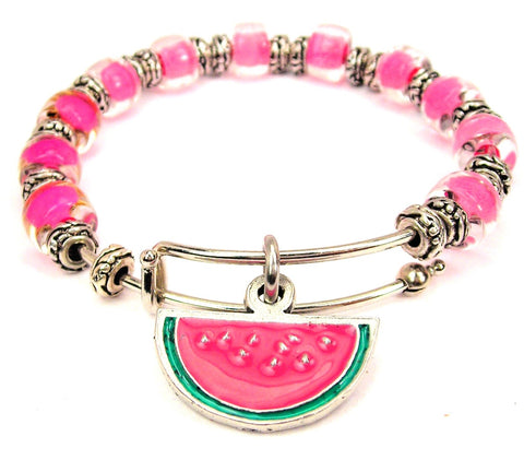 Watermelon Charm 9mm Glass Beaded Single Bracelet