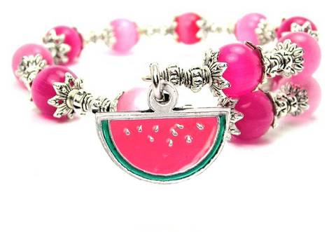 Hand Painted Watermelon Cats Eyes Glass Beaded Wrap Bracelet