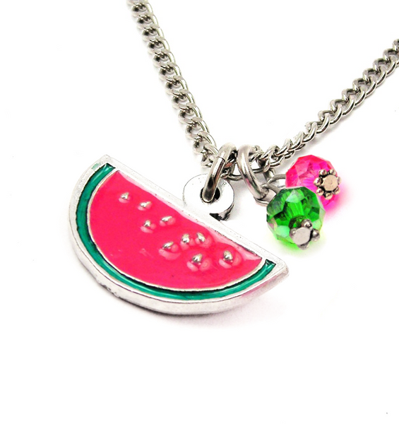 Hand Painted Watermelon Charm Necklace