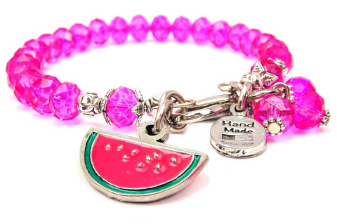 Hand Painted Watermelon Splash Of Color Crystal Bracelet