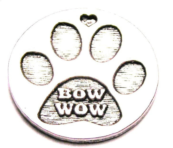 Bow Wow Dog Paw Print Genuine American Pewter Charm
