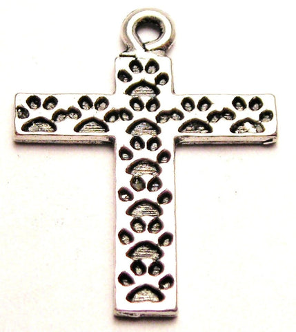 Paw Prints On Cross Genuine American Pewter Charm