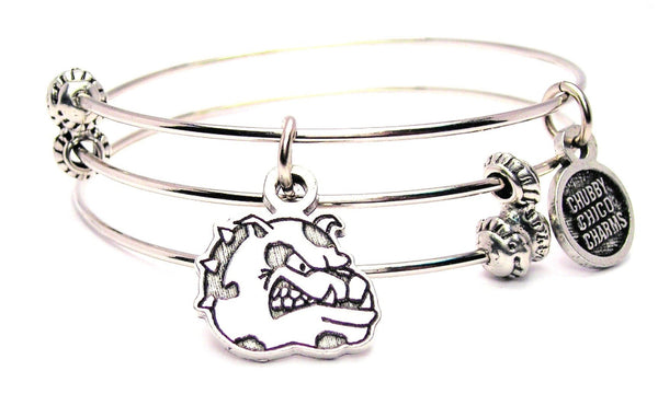 Bulldogs Mascot Triple Style Expandable Bangle Bracelet