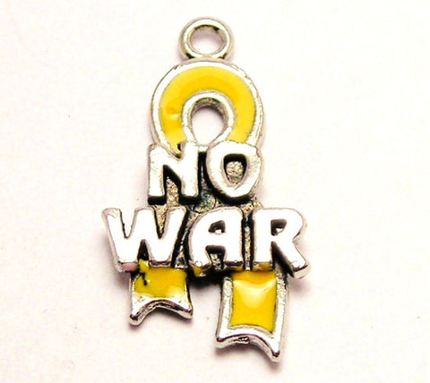 Yellow No War Awareness Ribbon Genuine American Pewter Charm