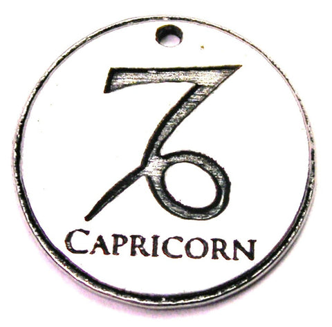 Capricorn Circle Genuine American Pewter Charm