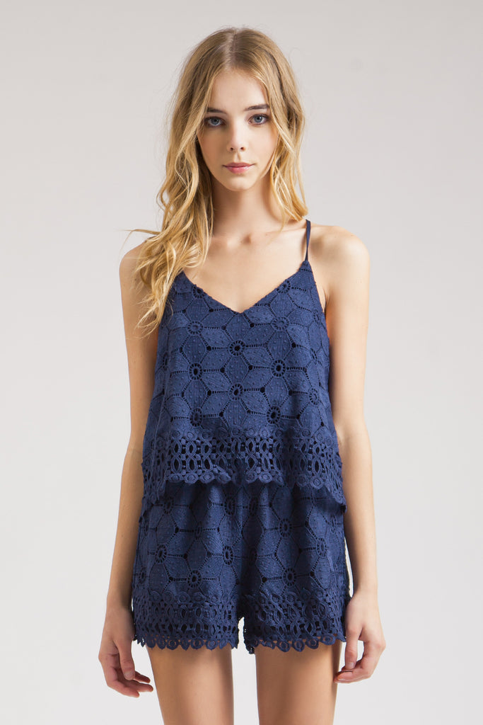 NAVY EMBROIDERED LAYERED ROMPER