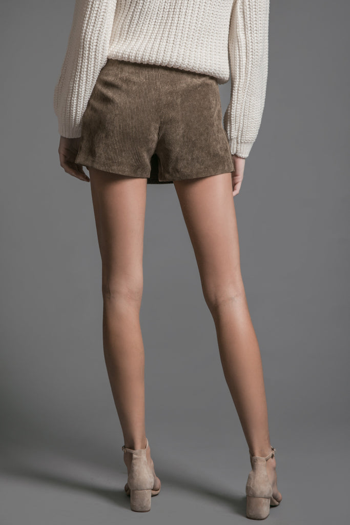 SUEDE FRONT WRAP SKIRT