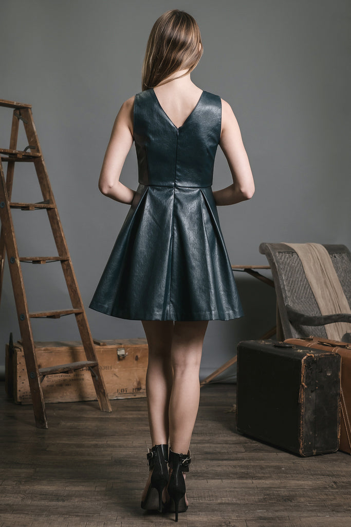 VEGAN LEATHER FLARED DRESS