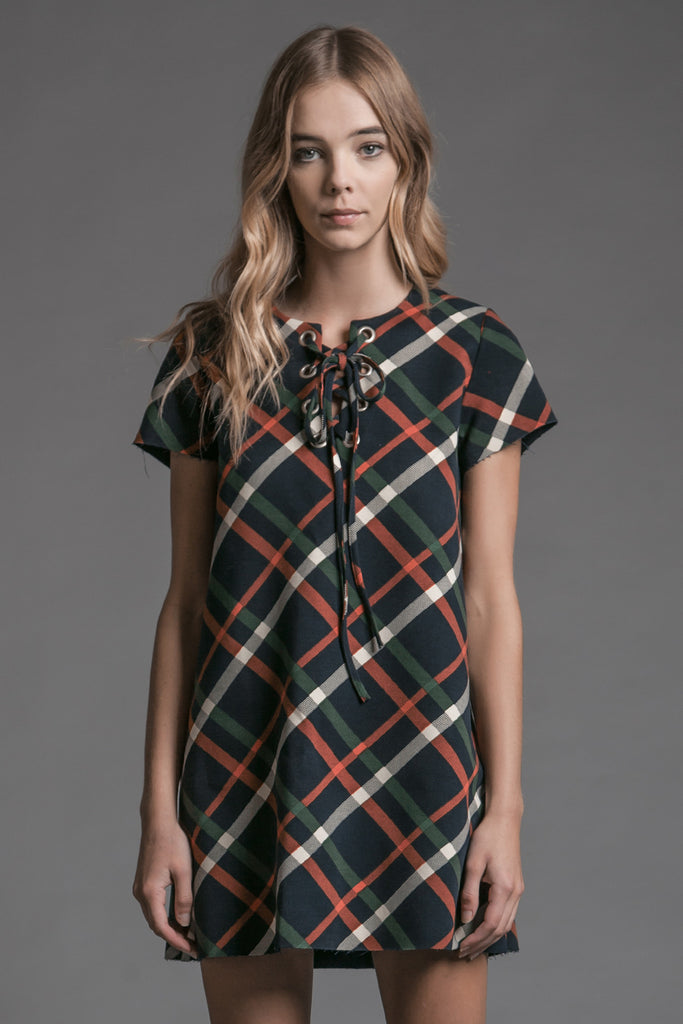 SHORT SLEEVE TARTAN PLAID LACE UP DRESS