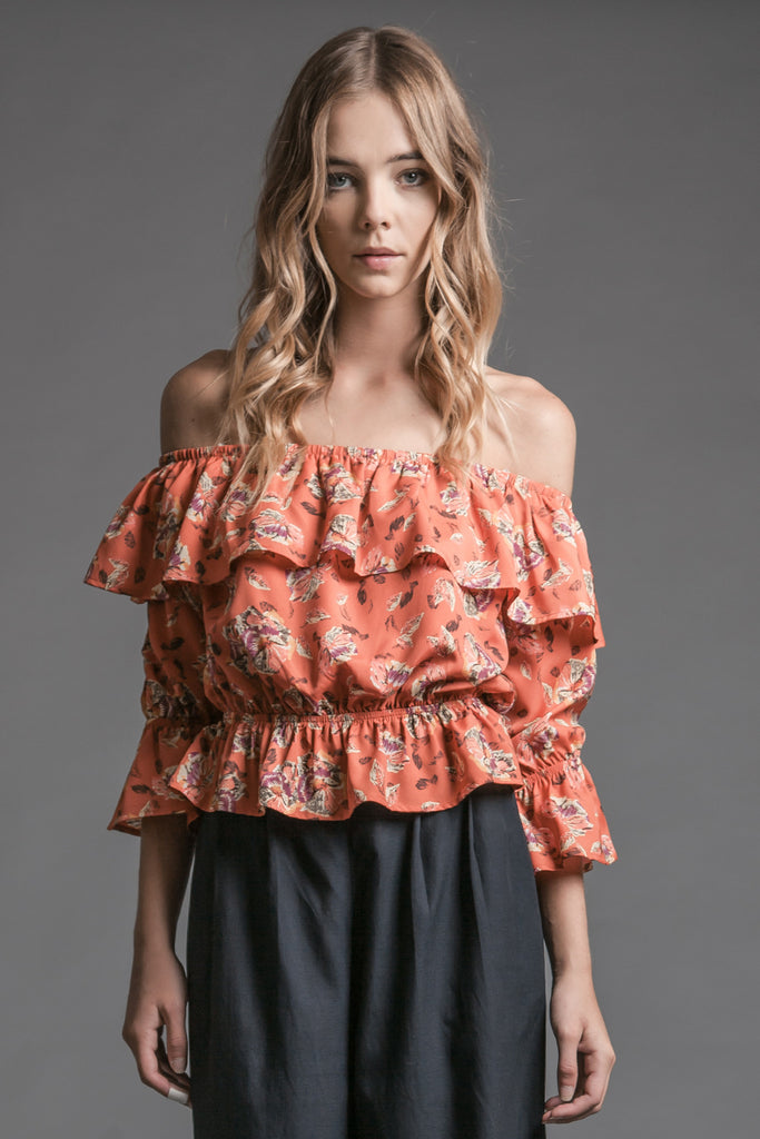 FLOWER PRINT LAYERED OFF THE SHOULDER TOP