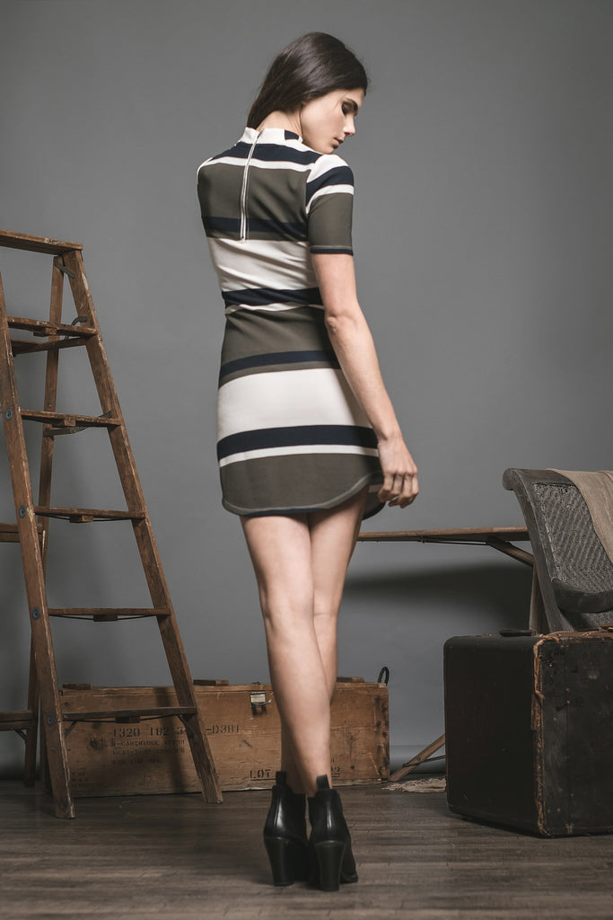 MOCKNECK STRIPED DRESS