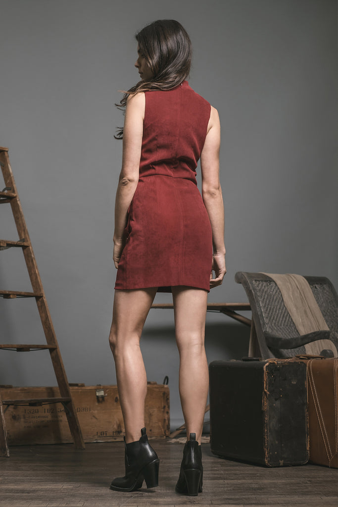 SUEDE SLEEVELESS DRESS WITH FLAP POCKET AND ZIPPER DETAIL