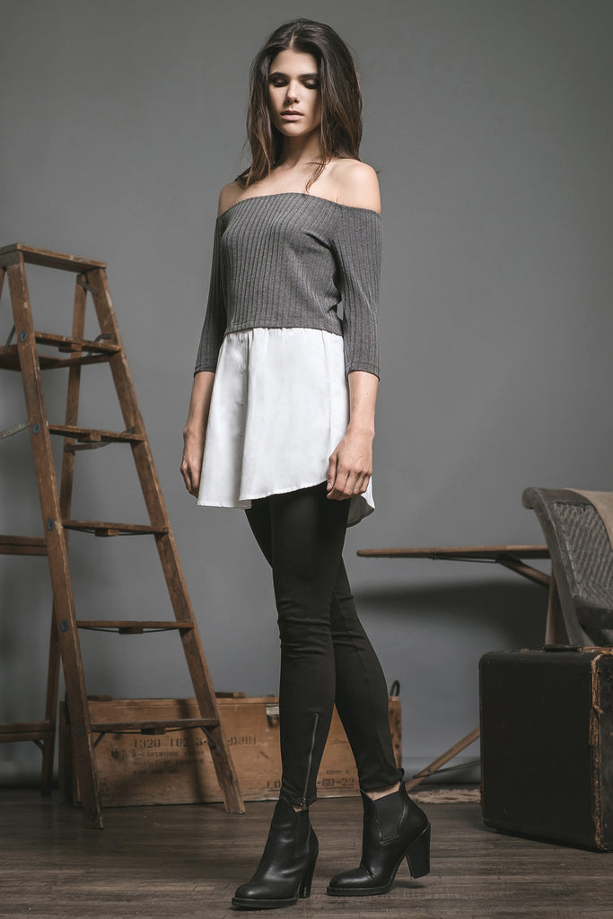 OFF SHOULDER DOUBLE LAYERED TOP