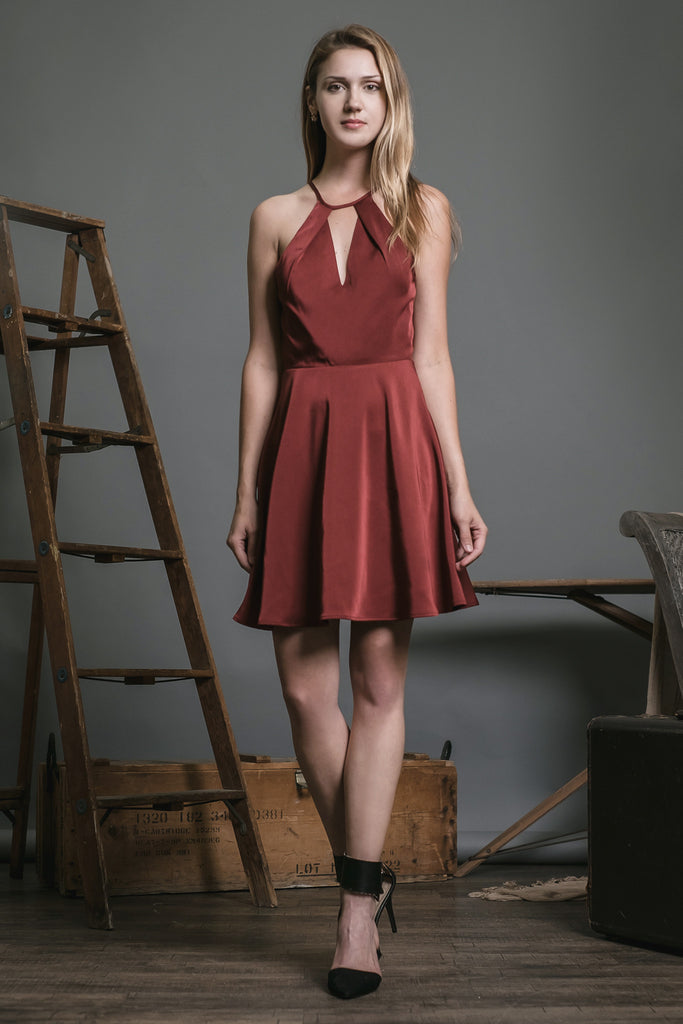 HALTER NECK WOVEN DRESS