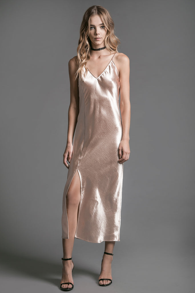 DUSTY PINK V-NECK SLIP DRESS WITH SLIT