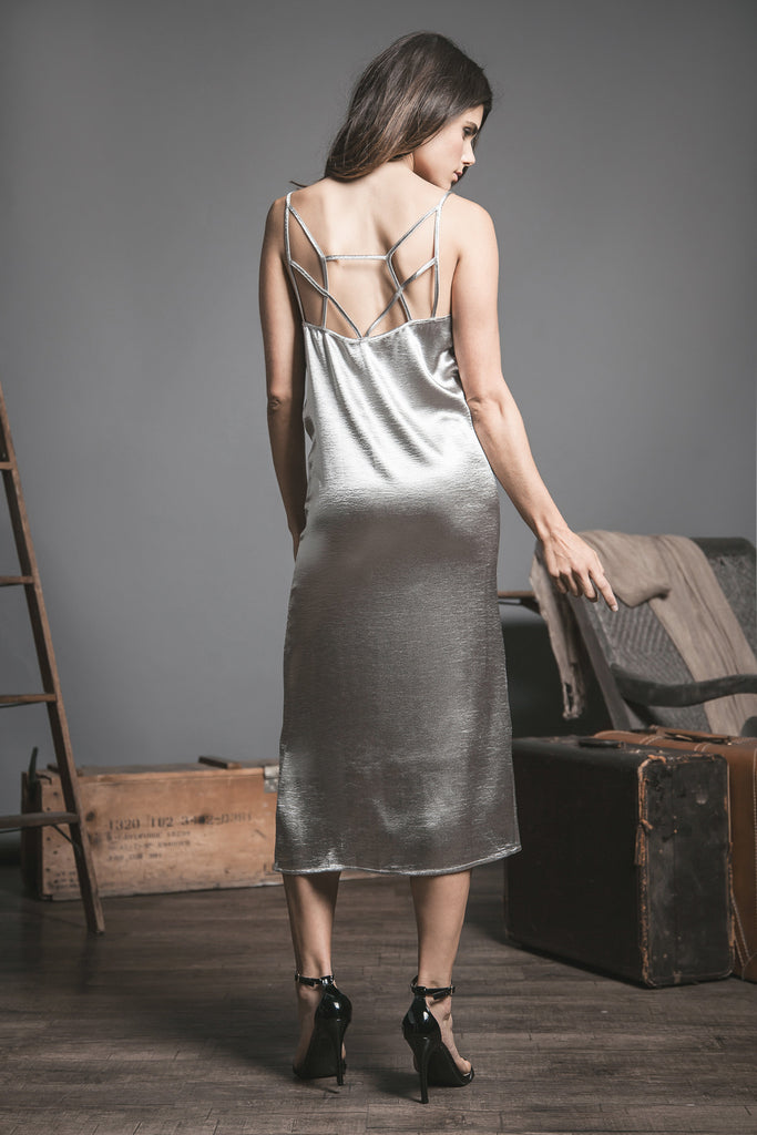 V-NECK SLIP DRESS WITH SLIT