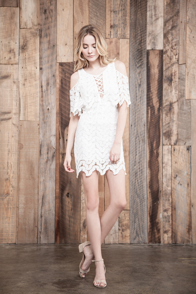 WHITE COLD SHOULDER LACE DRESS WITH LACE UP FRONT DETAIL