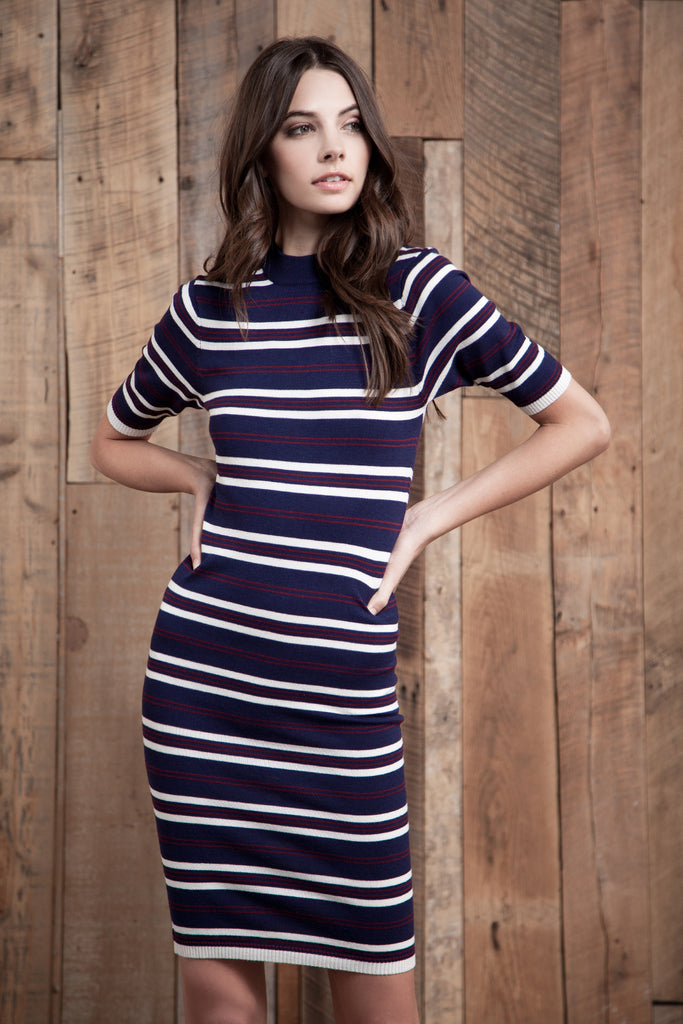 STRIPE LONG KNIT DRESS
