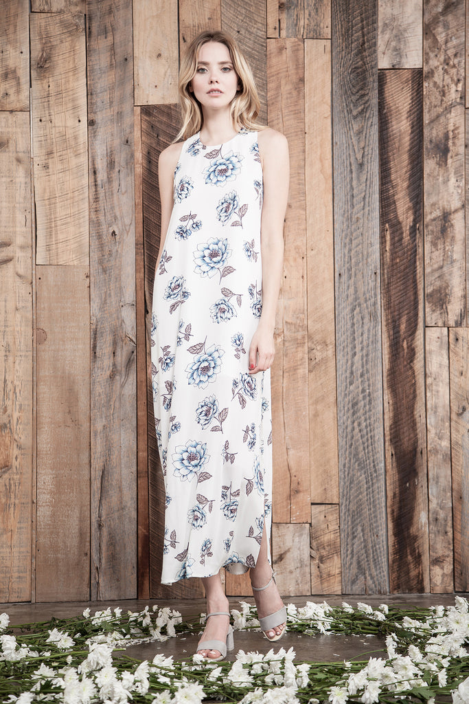 FLOWER PRINT MAXI DRESS WITH BACK STRAP DETAIL