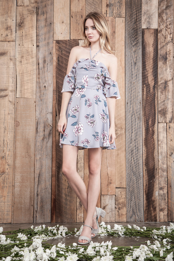 GREY FLOWER PRINT OFF THE SHOULDER MINI DRESS