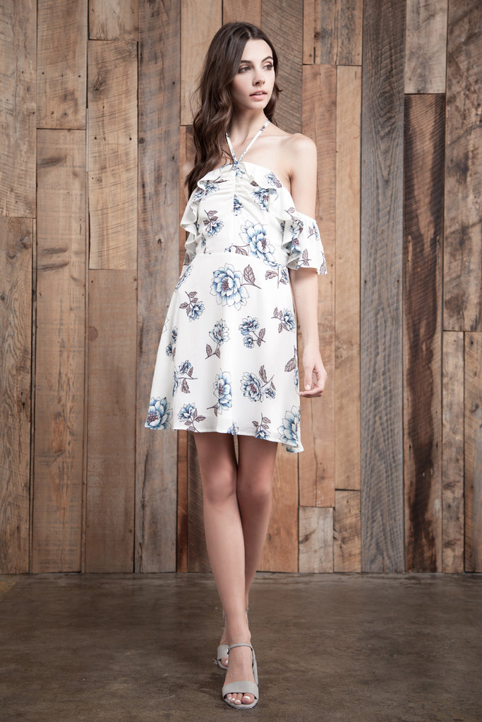 FLOWER PRINT OFF THE SHOULDER MINI DRESS