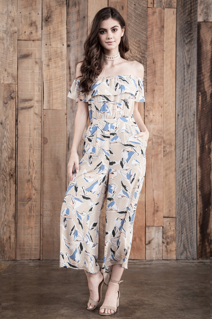FLOWER PRINT JUMPSUIT WITH BACK CUT OUT
