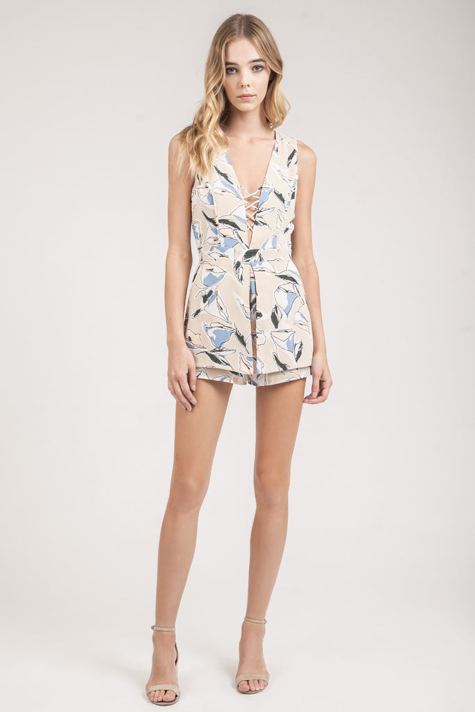 FLOWER PRINT ROMPER WITH LACE UP DETAIL