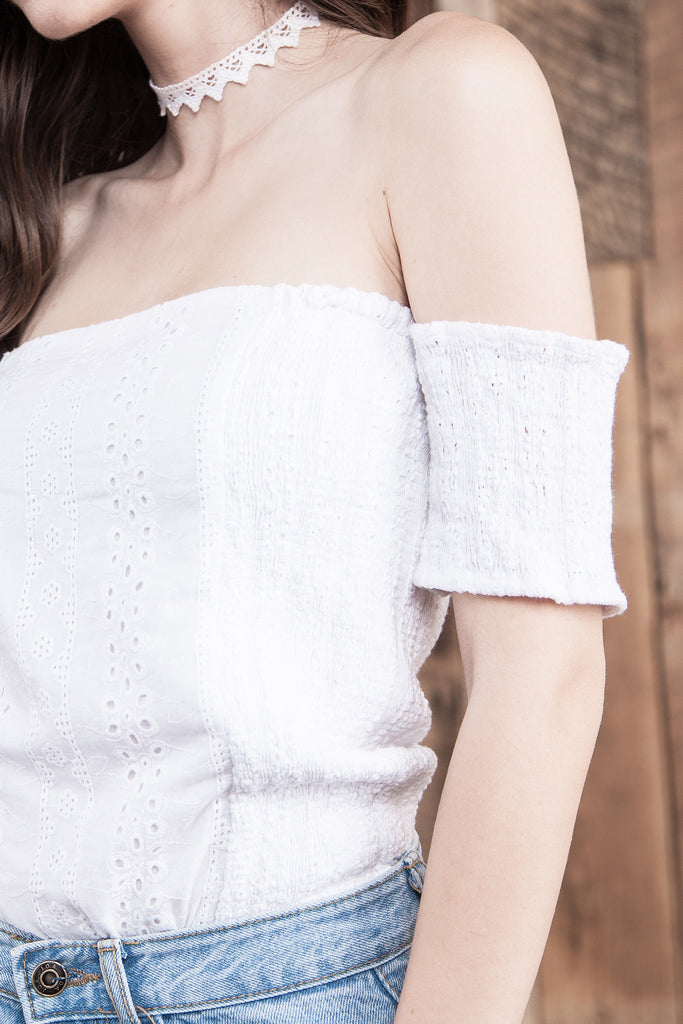 COLD SHOULDER EYELET BODYSUIT