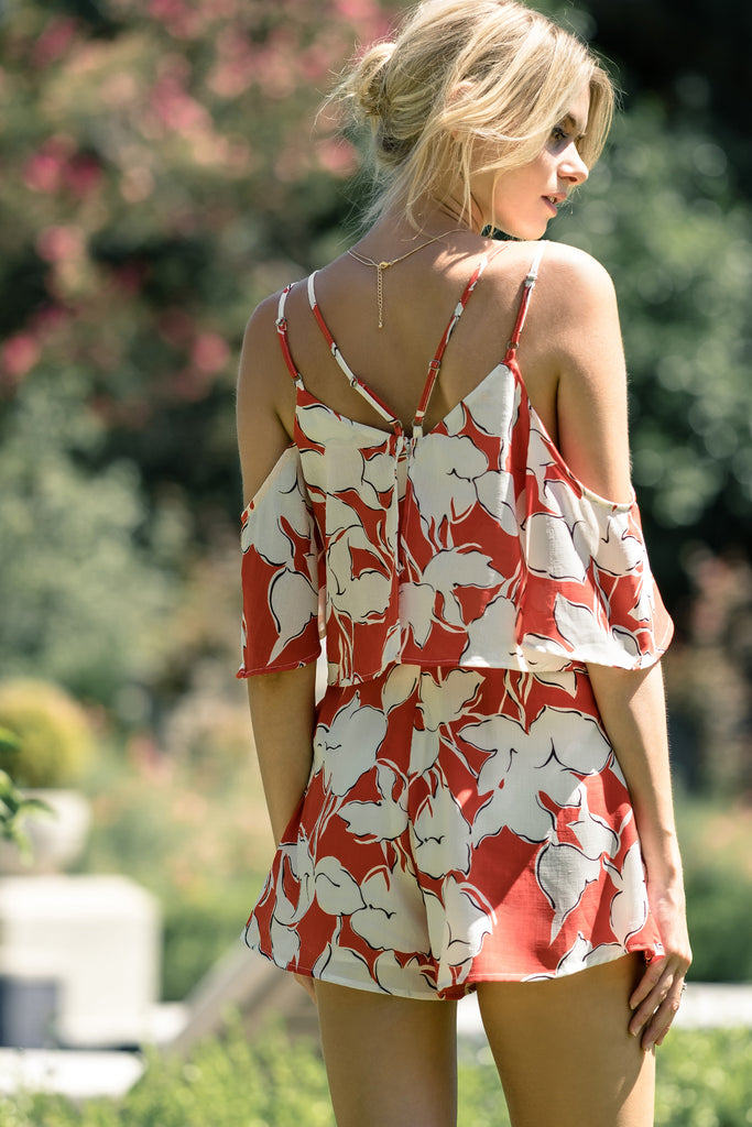 FLOWER PRINT COLD SHOULDER ROMPER