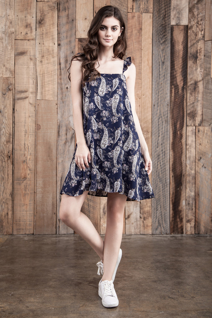 FLOWER PRINT DRESS WITH LACE UP BACK