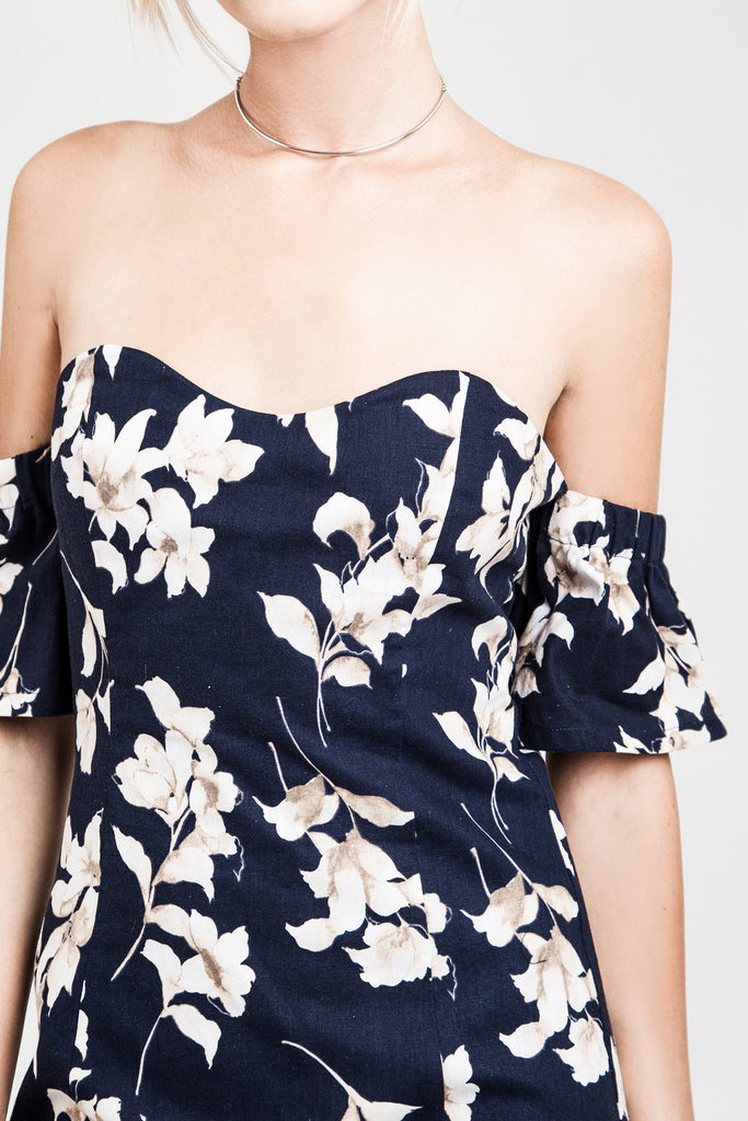 FLOWER PRINT OFF THE SHOULDER FITTED DRESS