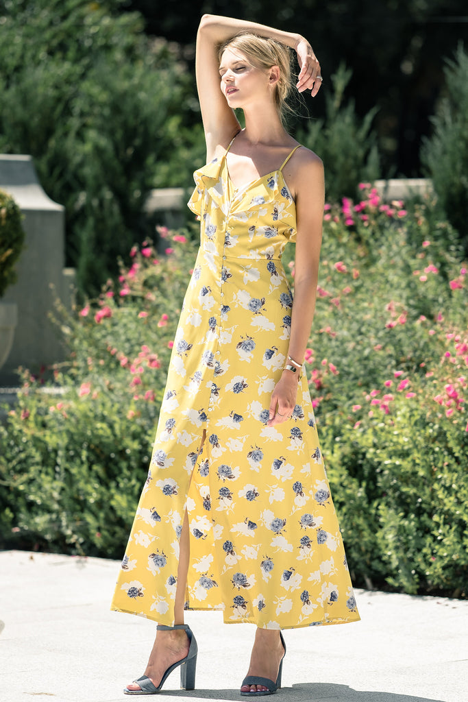 FLOWER PRINT BUTTON DOWN MAXI DRESS