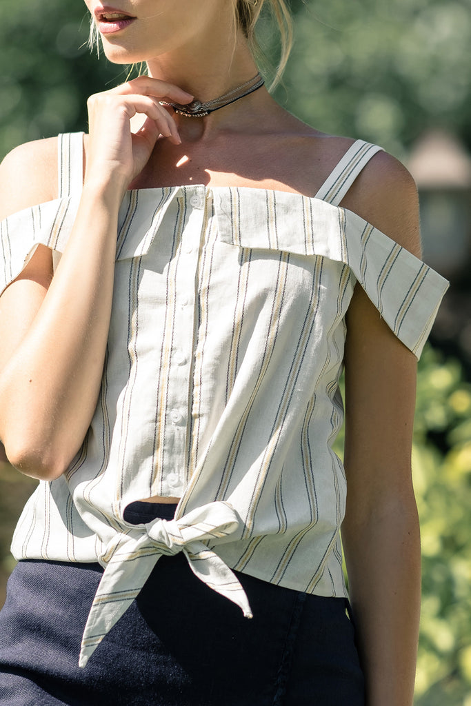 STRIPE BUTTON DOWN TOP WITH FRONT KNOT