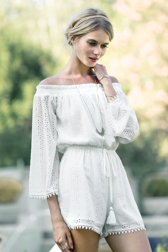 EMBROIDERED EYELET OFF THE SHOULDER ROMPER