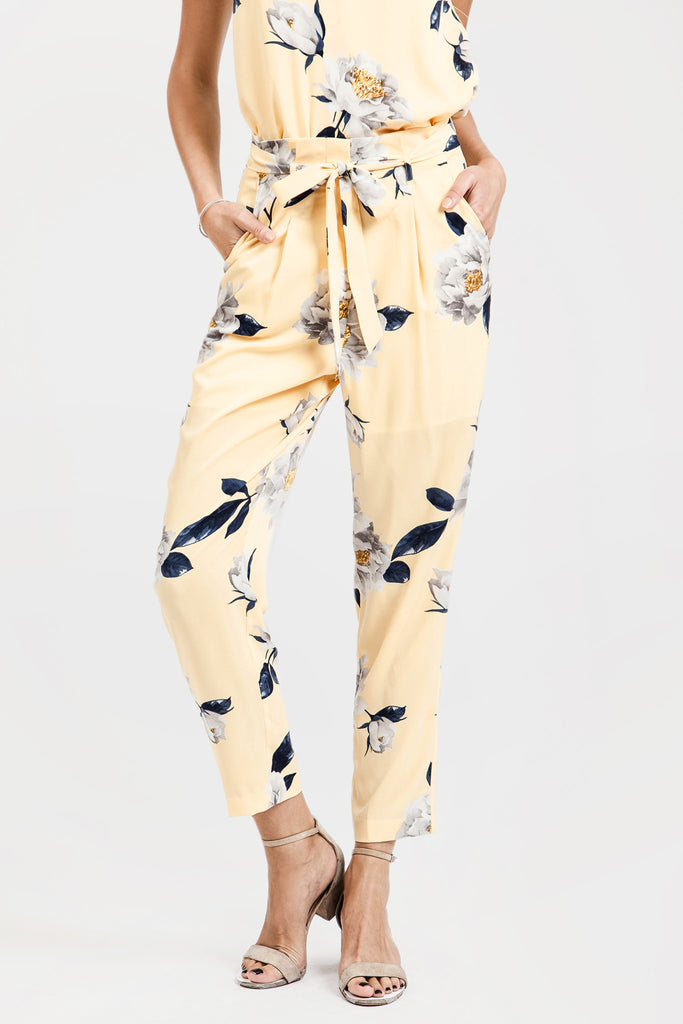 FLOWER PRINT TAPERED PANTS WITH WAISTBAND