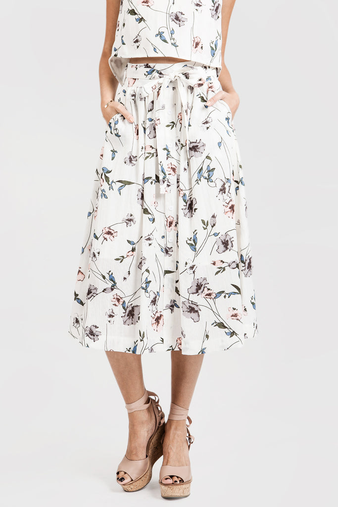 FLOWER PRINT BUTTON DOWN MIDI SKIRT