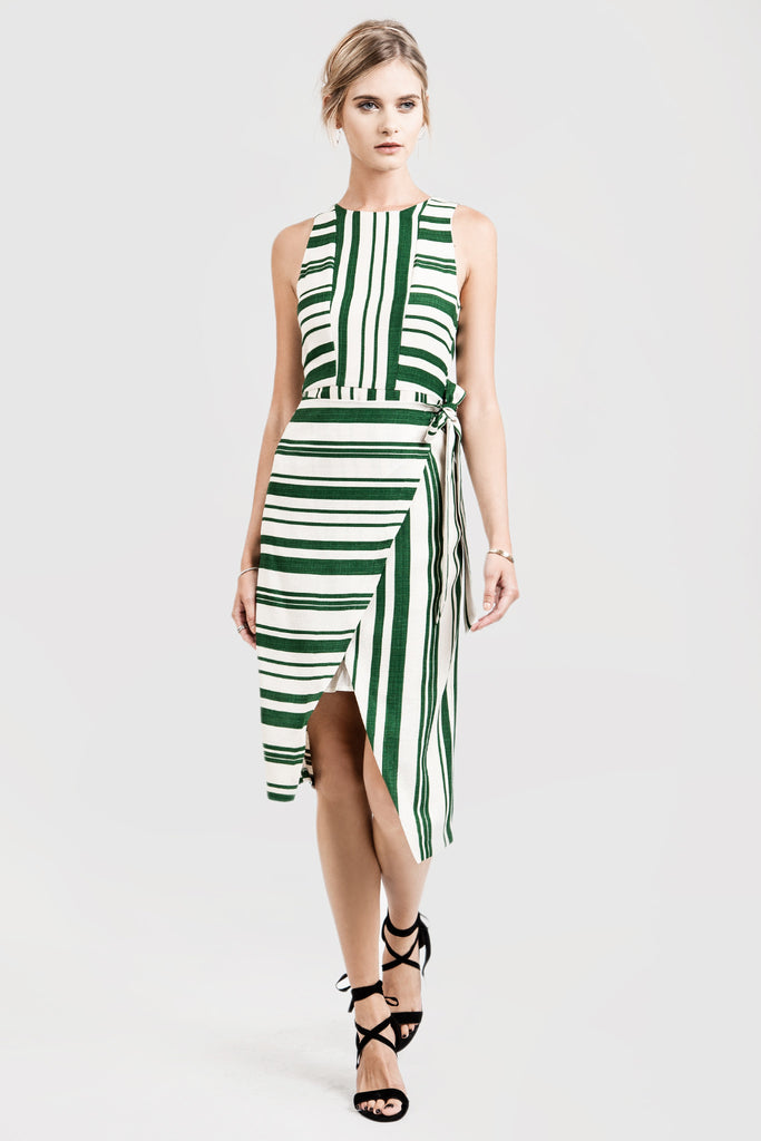 WRAP STYLE STRIPE SHEATH DRESS