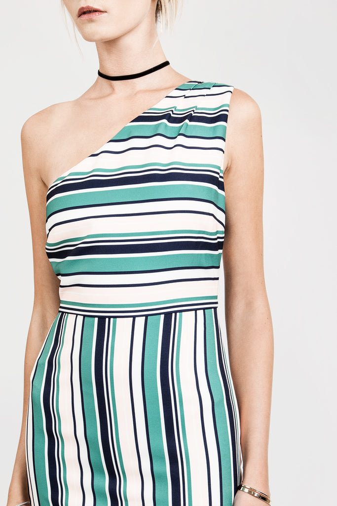 ONE SHOULDER STRIPE DRESS