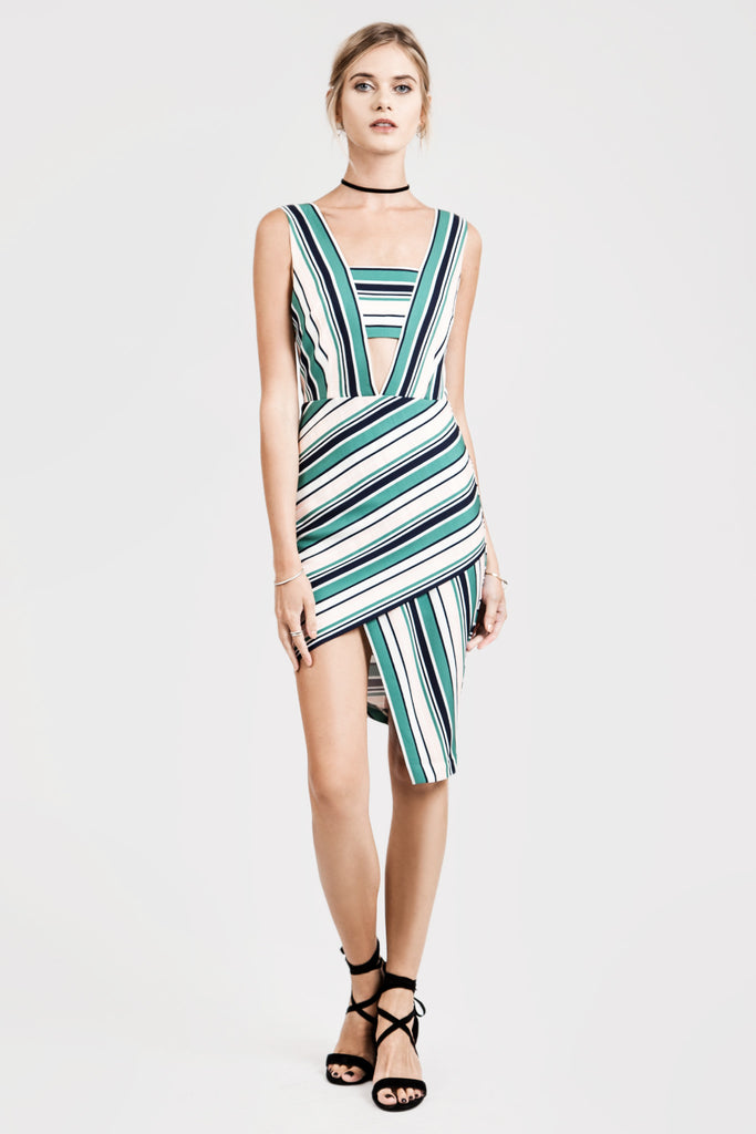 STRIPE ASYMMETRICAL HEM DRESS