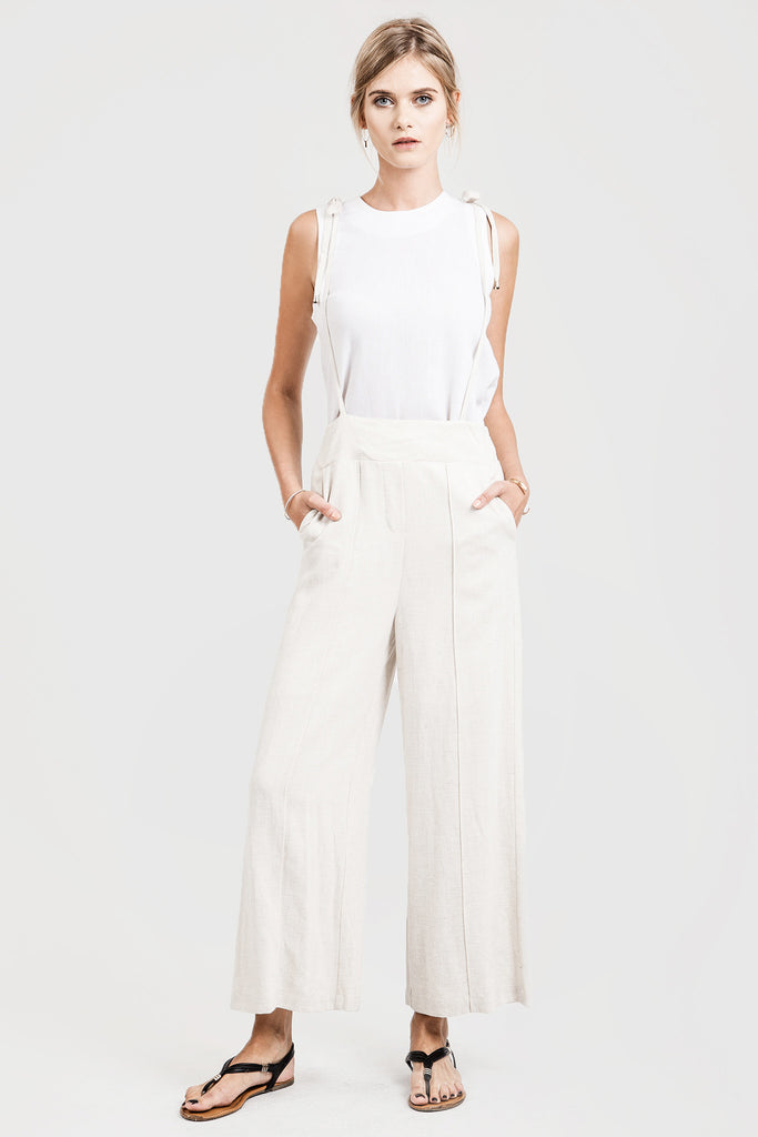 HIGH WAISTED WIDE LEG OVERALL WITH SMOCKING DETAIL JUMPSUIT