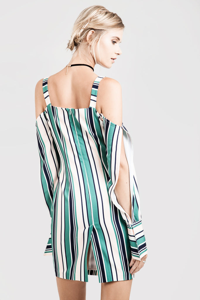OFF THE SHOULDER STRIPE DRESS WITH WIDE CUFF