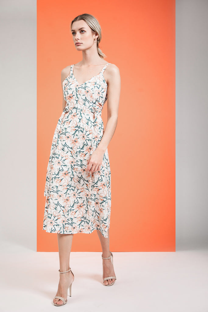 FLOWER PRINT SLEEVELESS DRESS WITH D RING DETAILS