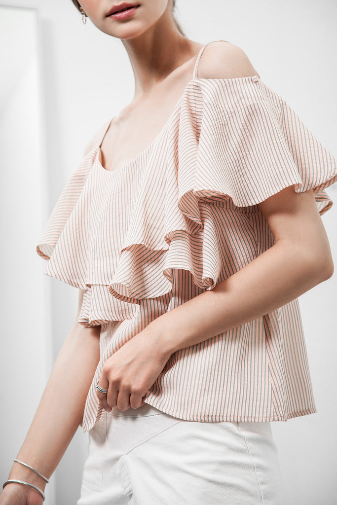 PIN STRIPE COLD SHOULDER LAYERED RUFFLE TOP