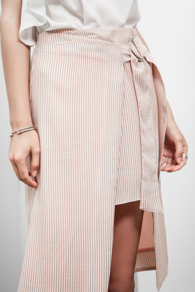PIN STRIPE WRAP SKIRT WITH D-RING DETAIL
